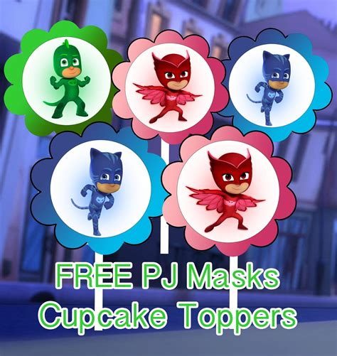 Cupcake Toppers Karakter Tema Foto 1 pj masks birthday printable files