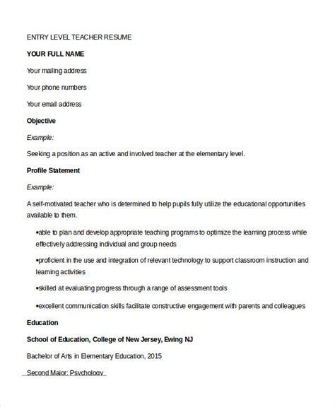 teaching resume sles entry level resume 9 free sle exle format free