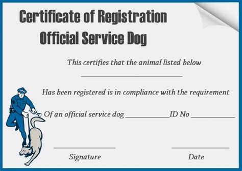 Service Animal Certificate Template by Service Certificate Template 10 Word Templates For