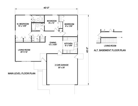 ranch style house plan 3 beds 2 baths 1100 sq ft plan