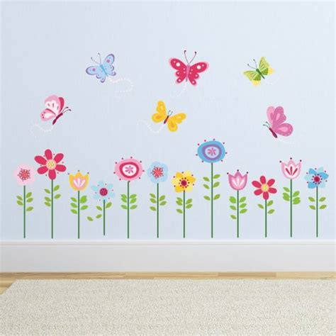 garden wall stickers bright butterfly garden decorative peel stick wall sticker decals arts entertainment