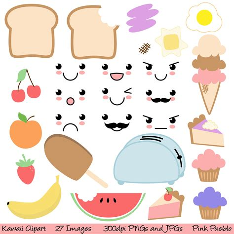 kawaii clipart kawaii food clipart clip commercial and personal use