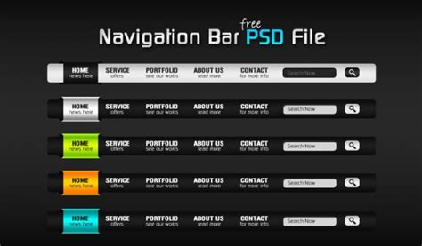 Website Top Bar Colorful Navigation Bar And Search Box Design Free