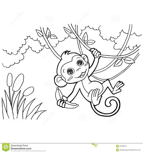coloring page vector monkey coloring pages vector stock vector image