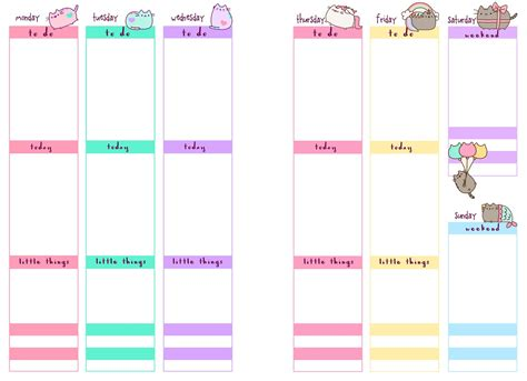 printable weekly planner inserts pb and j studio free printable planner inserts pusheen