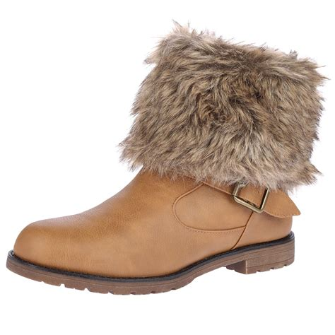 womens faux fur lined collar buckle warm pull on