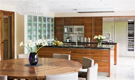 Walnut High Gloss Kitchen by Luxury Kitchens Style Guide Real Homes