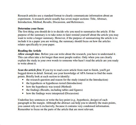 article summary template 8 sles exles formats