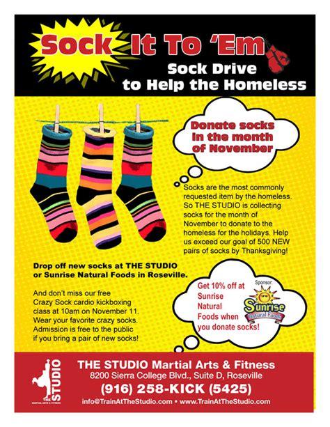 November Sock Drive For The Homeless The Studio Martial Arts Fitness Sock Drive Flyer Template