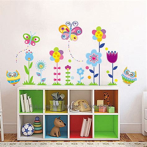 Nursery Decor Accessories Colourful Butterfly Flower Owls Wall Stickers Decal Nursery Decor Ebay