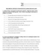 english worksheets fragments run on sentences and comma