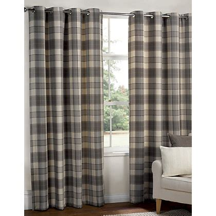grey and white check curtains highland textured check lined eyelet curtains grey 66 x 54in