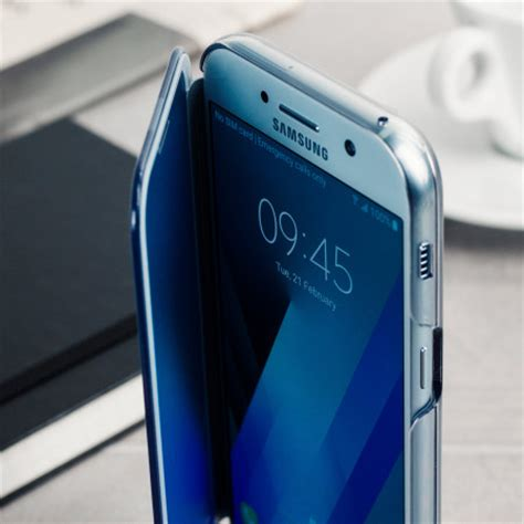 official samsung galaxy a5 2017 clear view cover case blue