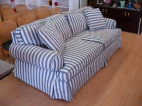 Blue And White Sofa 11278 Modern Sofa Blue White Striped Cotton Denim Comf