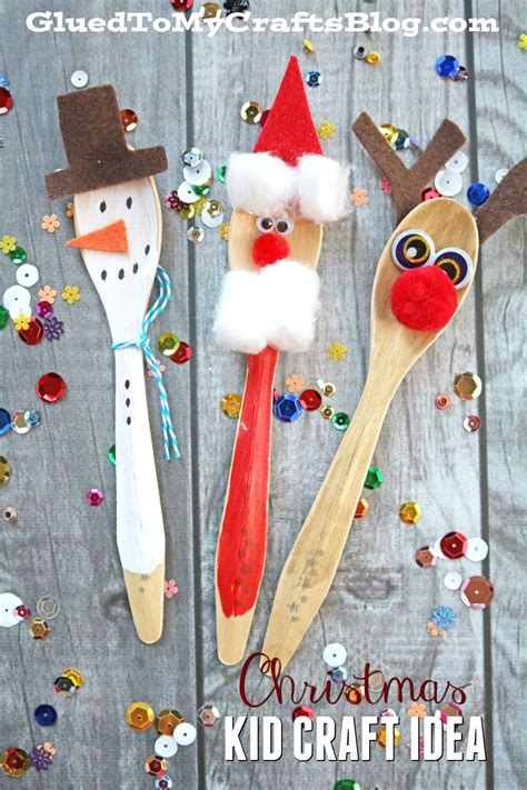 wooden spoon christmas friends kid craft glued to my