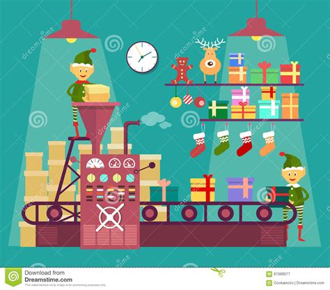 elves make christmas and new year gifts stock vector
