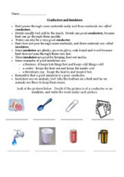 electrical conductors and insulators worksheet worksheets conductors and insulators
