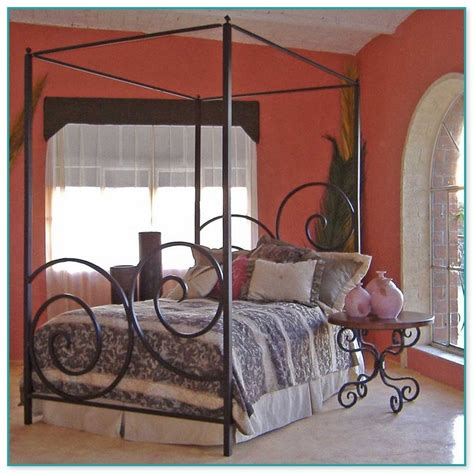 wrought iron canopy bed frame image is loading antique