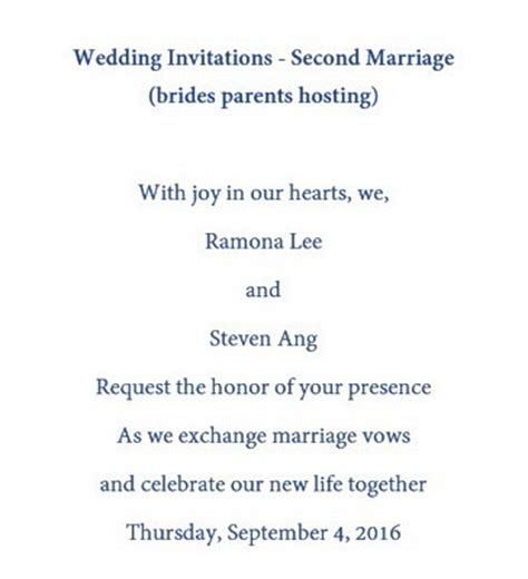 Wedding Announcement Etiquette Second Marriages by Wedding Invitation Wording For Second Marriage Yaseen For
