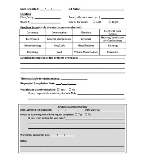 6 Sle Construction Work Order Forms Pdf Sle Templates Construction Work Order Template