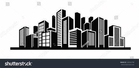 No City Black by Vector Black Illustration Building Icon On Stock Vector