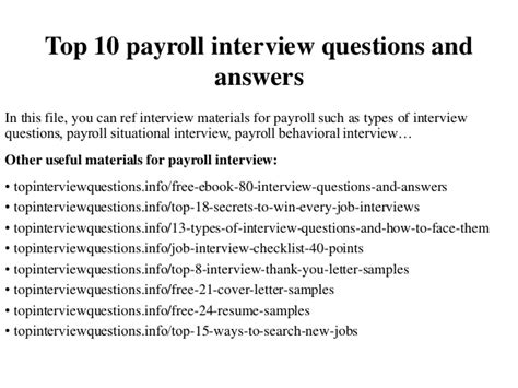 top 10 payroll questions and answers