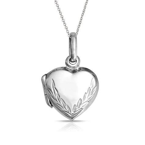 Pendant L Leaf Engraved Locket Pendant 925 Sterling Silver