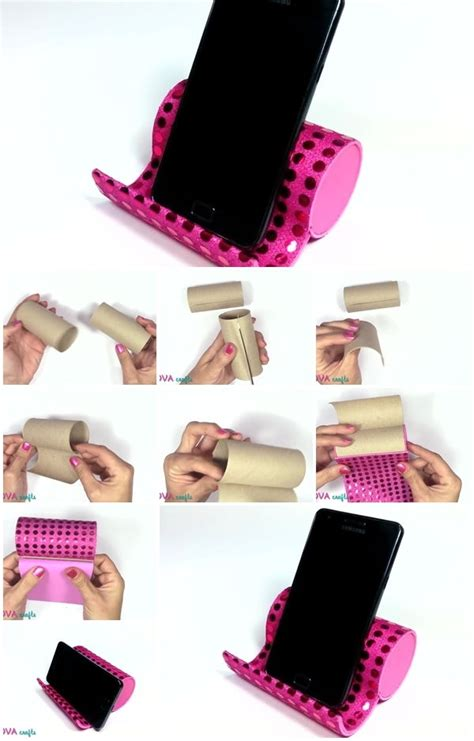 How To Make A Paper Phone Stand - diy toilet paper rolls phone stand craftbnb