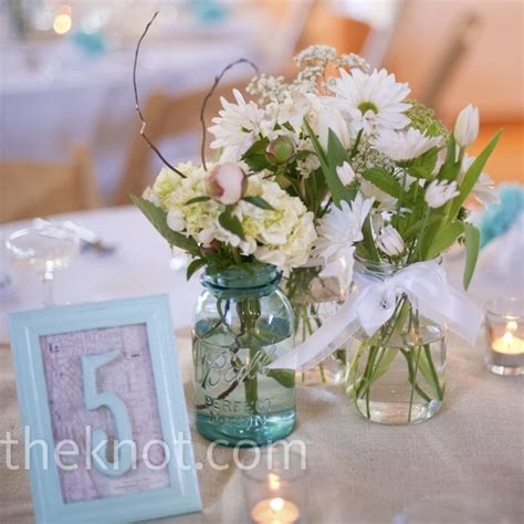 mason jar centerpieces vintage framed table numbers