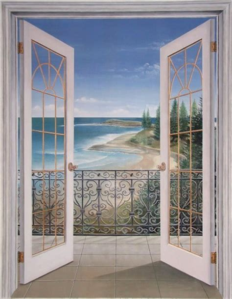 World Map Stickers For Walls french doors seascape trompe l oeil french doors