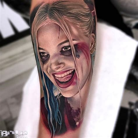 realistic harley quinn portrait best tattoo design ideas