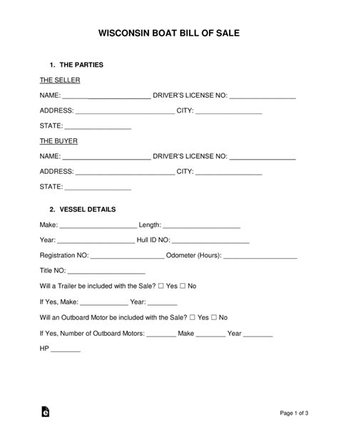 free wisconsin boat bill of sale form word pdf - Boat Bill Of Sale Wisconsin