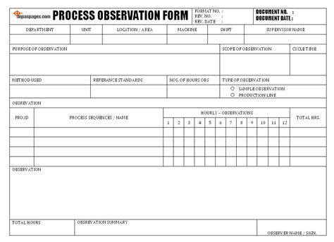 Process Observation Form Lean Six Sigma Bord Pinterest Process Improvement Form Template