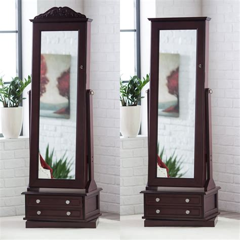 armoire mirrored cheval mirror jewelry armoire swivel floor standing