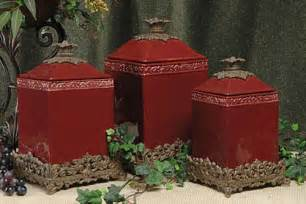 Red Ceramic Canisters For The Kitchen Kitchen Canister Sets Kitchen Design Photos