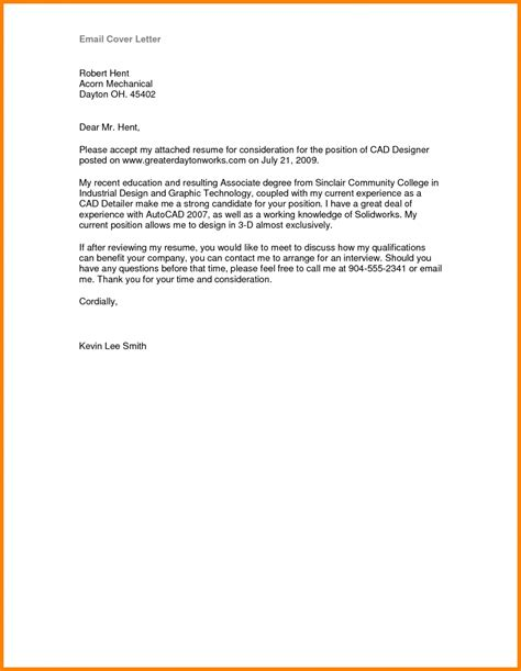cover letters for resumes 9 email cover letter sle how to make a cv brief email 1164