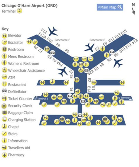 chicago ohare ord airport terminal map terminal 2 chicago o hare airport ord terminal 2 map map of