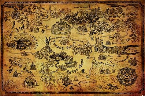 printable zelda map the legend of zelda hyrule map poster sold at europosters