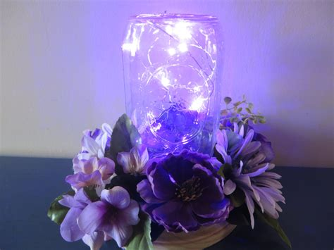 lighted flower centerpieces purple flower centerpiece jar with led lights and