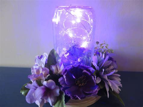 Purple Flower Centerpiece Mason Jar With Led Lights And Light Centerpieces