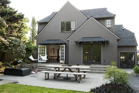 white house in a gray city books modern portland landscape traditional exterior