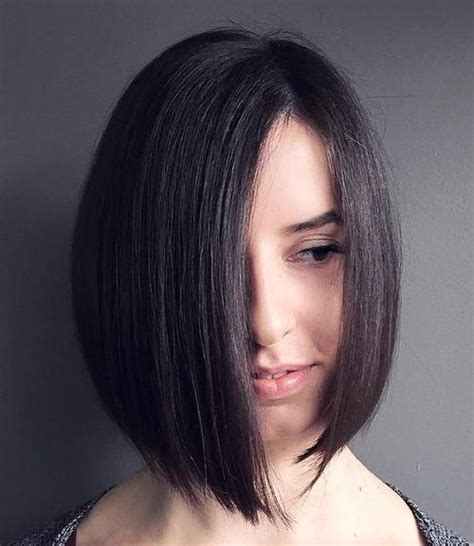 blunt cut anhled towrds face 50 spectacular blunt bob hairstyles