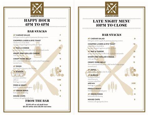 dinner menus for 10 happy hour late menu arlington tavern