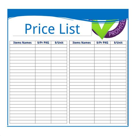 price list template sle price sheet 7 exles format