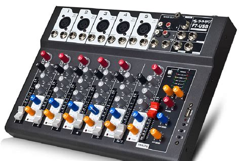 Power Mixer Audio Seven f7 usb mini audio mixer console with usb built in effect
