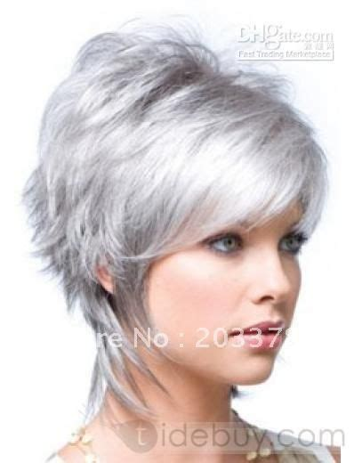women with lots of hair fashion women s short hair wig silvery white free shipping