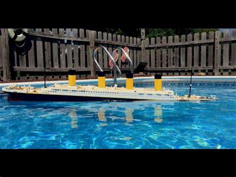 lego boat sinking in pool lego cobi titanic sinking recreation in my pool