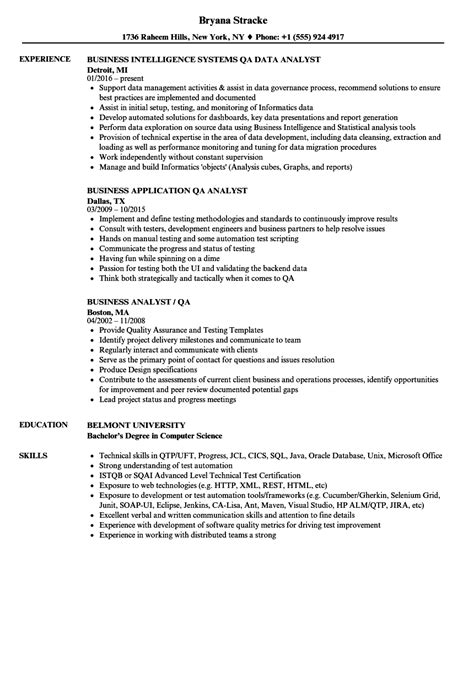 Qa Analyst Resume by Business Analyst Qa Analyst Resume Sles Velvet