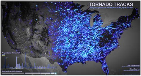 tornado usa map stunning map of noaa data showing 56 years of tornado