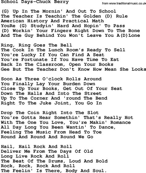 lyrics chuck country school days chuck berry lyrics and chords